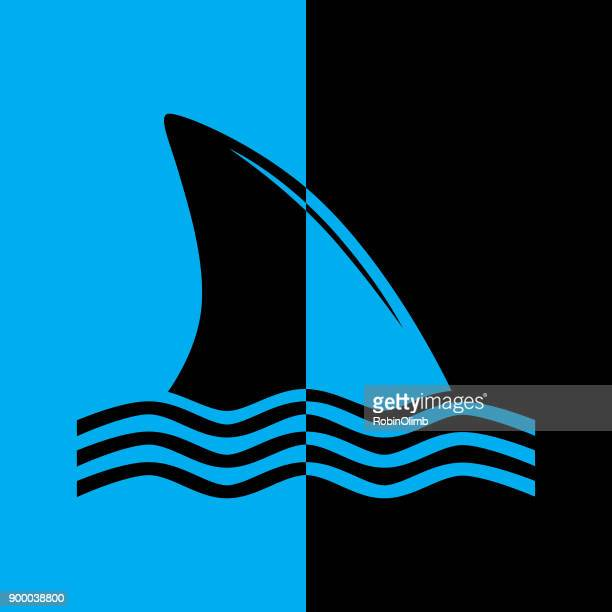 black and blue shark fin icon - great white shark stock illustrations, clip art, cartoons, & icons