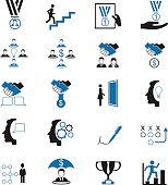 Black and blue simple human resources icons