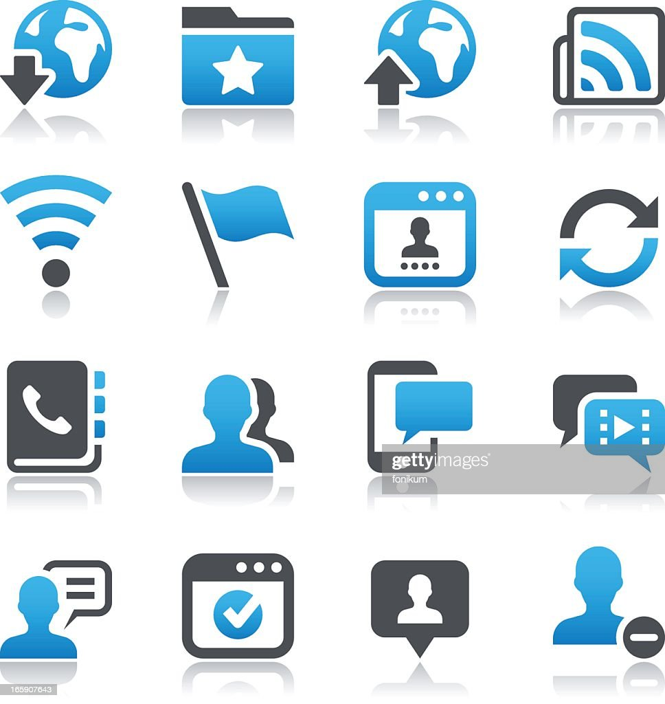 Black and blue social networking icons