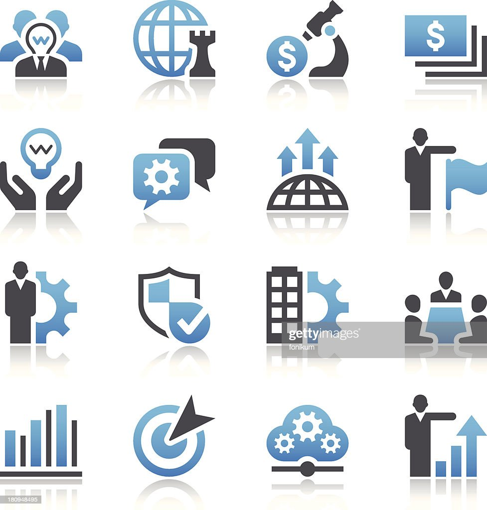 Black and blue vector business concept icons