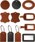 Black and brown leather labels