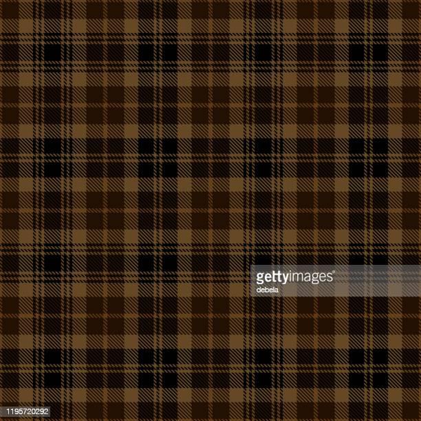 black and brown scottish tartan plaid textile pattern - brown stock illustrations