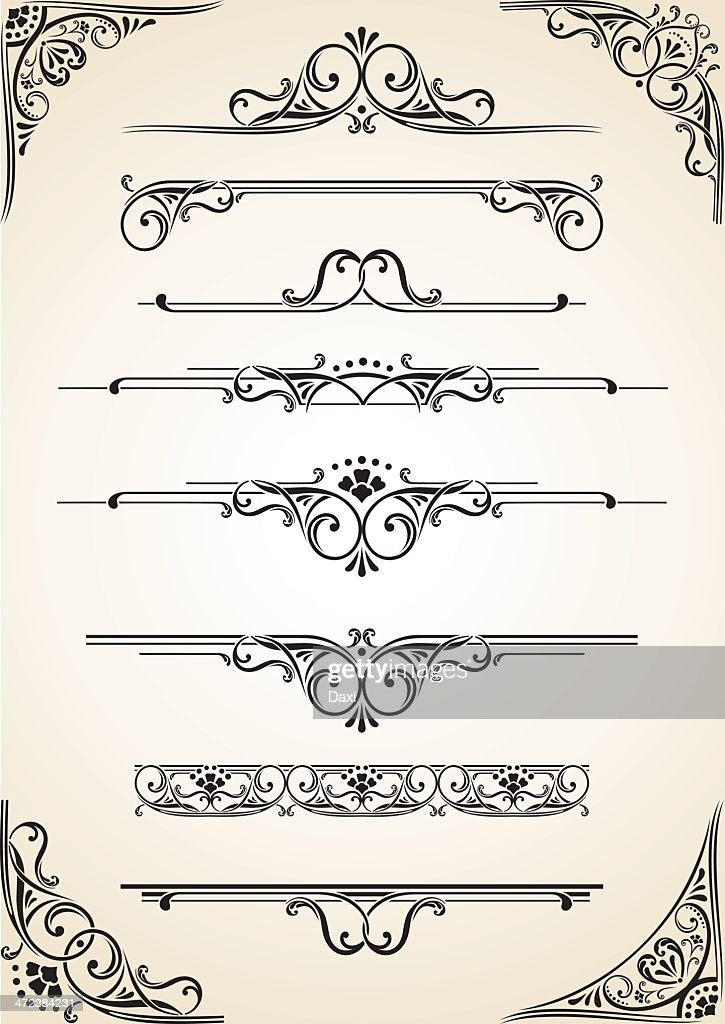 Black and cream vectored scroll set