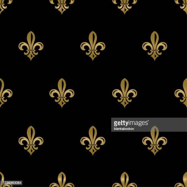 ブラックとゴールドフルール・ド・リスシームレス・パタン - フルールドリス点のイラスト素材/クリップアート素材/マンガ素材/アイコン素材