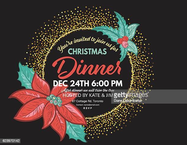 ilustraciones, imágenes clip art, dibujos animados e iconos de stock de black and gold glitter holiday invitation with poinsettias and holly - flor de pascua
