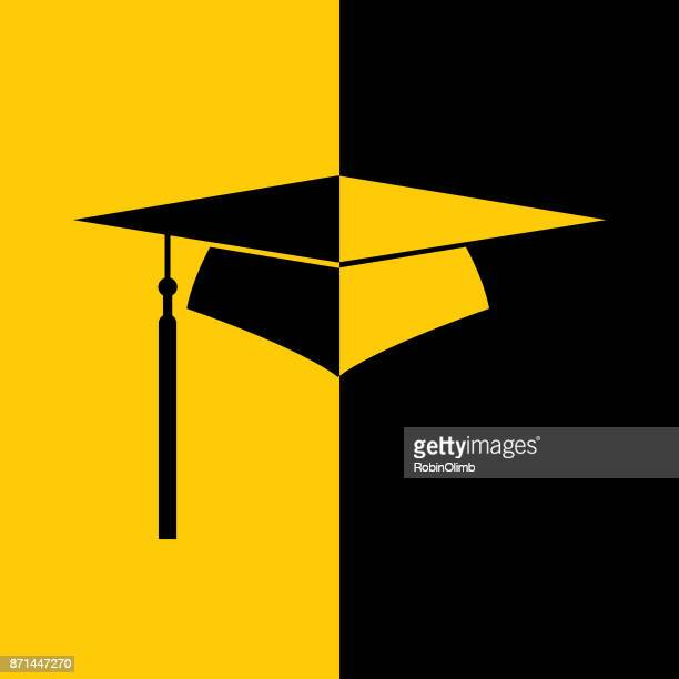 black and gold graduation icon - tassel stock illustrations