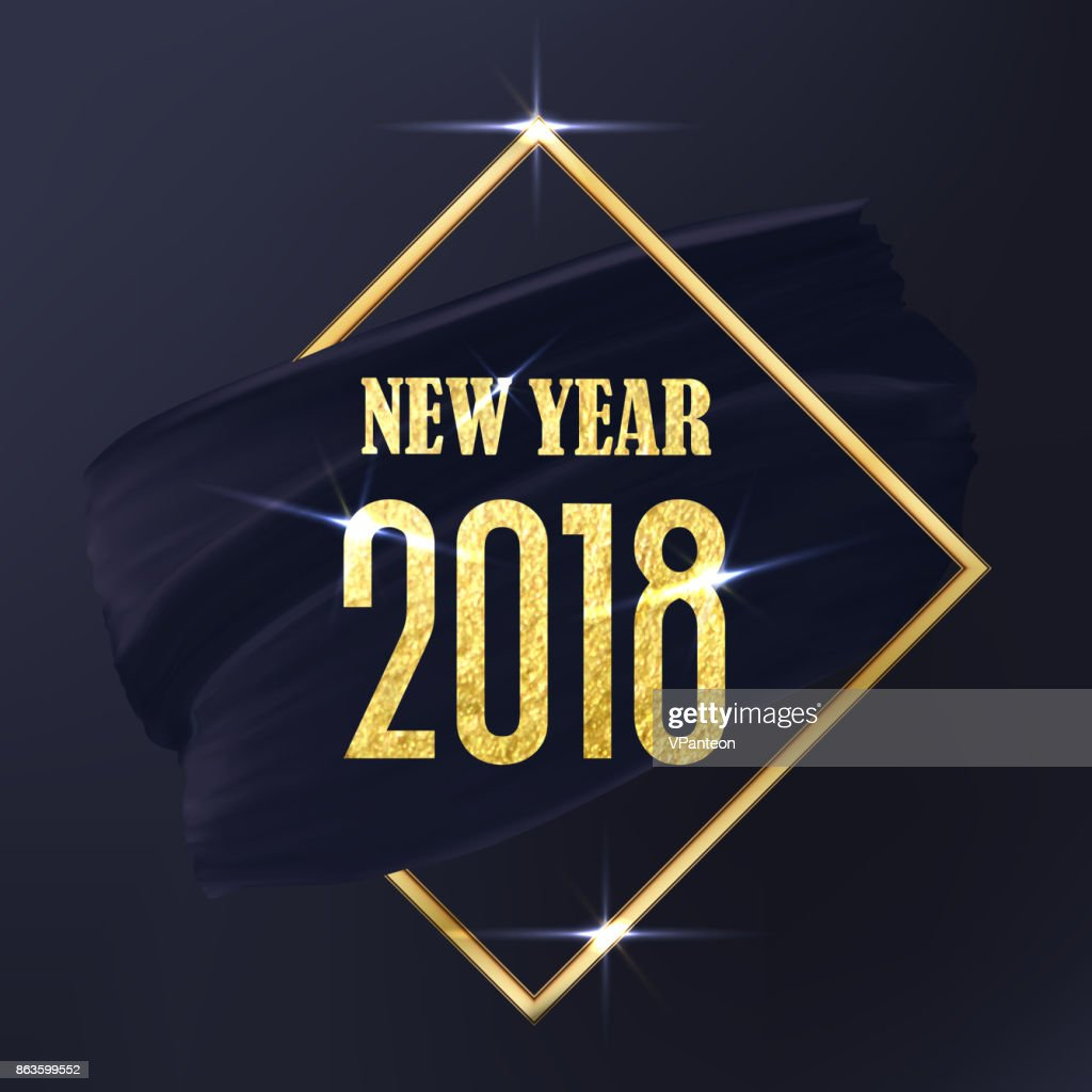 Black and Gold New Year 2018 art abstract emblem. Vector Golden Frame and black smear.