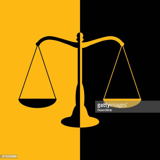 black and gold scales of justice icon. - scales stock illustrations