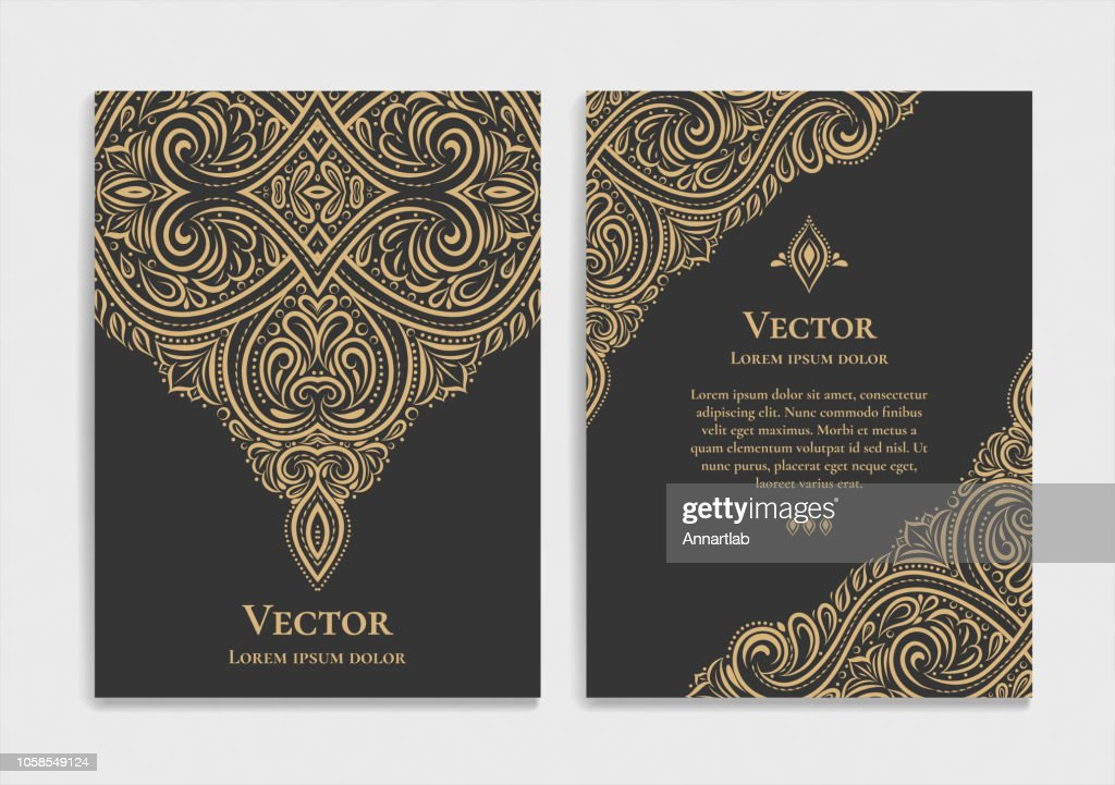 Black and gold vintage invitation card. Good for flyer, menu, brochure. Luxury ornament.