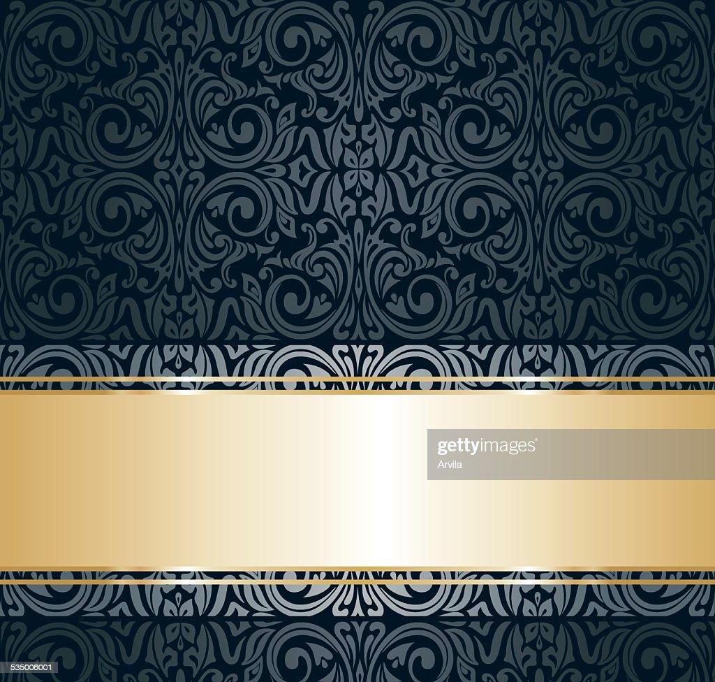 Black and gold vintage wallpaper