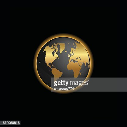 Black and gold world map globe illustration vector art getty images gumiabroncs Image collections