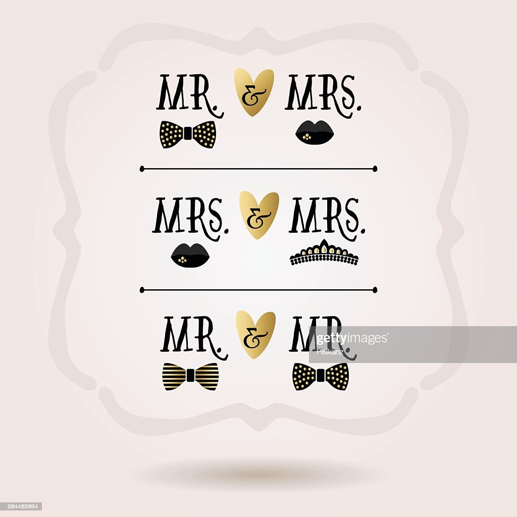 Black and golden conceptual Mr. & Mrs. icons on pink background