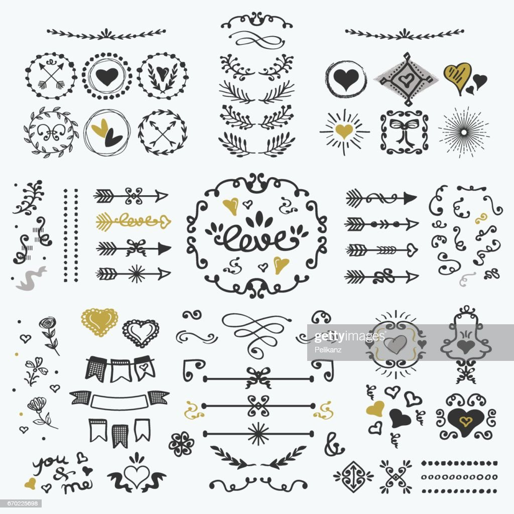 Black and golden hand drawn cute design elements set on white background