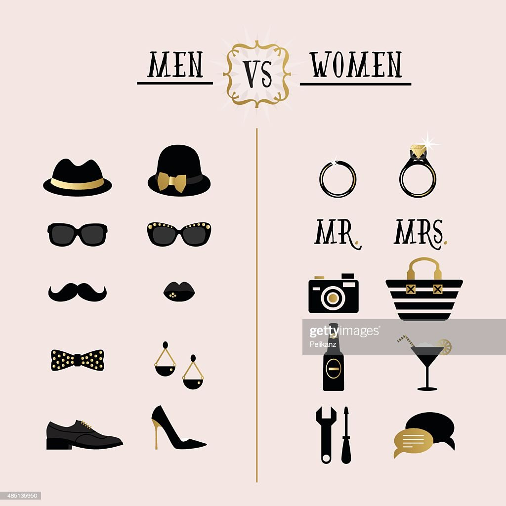 Black and golden hipster Men Vs Women accessory design icons