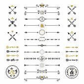 Black and golden modern retro arrows and dividers icons set on white background