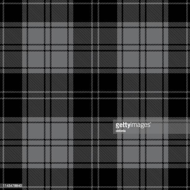 black and gray scottish tartan plaid textile pattern - tartan stock illustrations