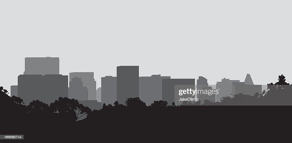 街並みのシルエット : ストックイラストレーション