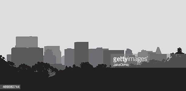 black and gray silhouette of a cityscape - town stock illustrations