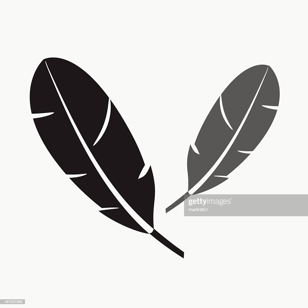 black and gray two feathers symbols eps10