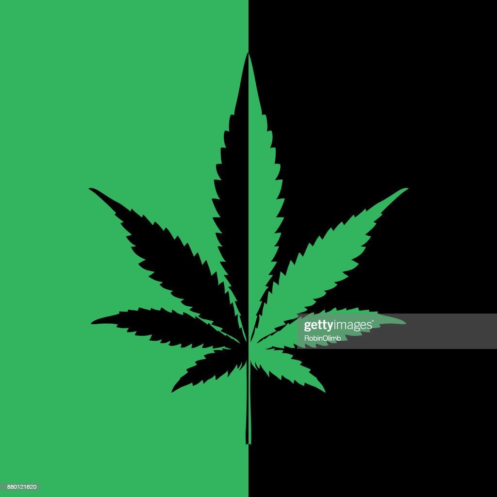 Black And Green Marijuana Icon : stock illustration