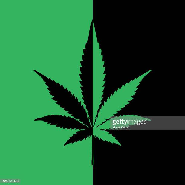 Black And Green Marijuana Icon