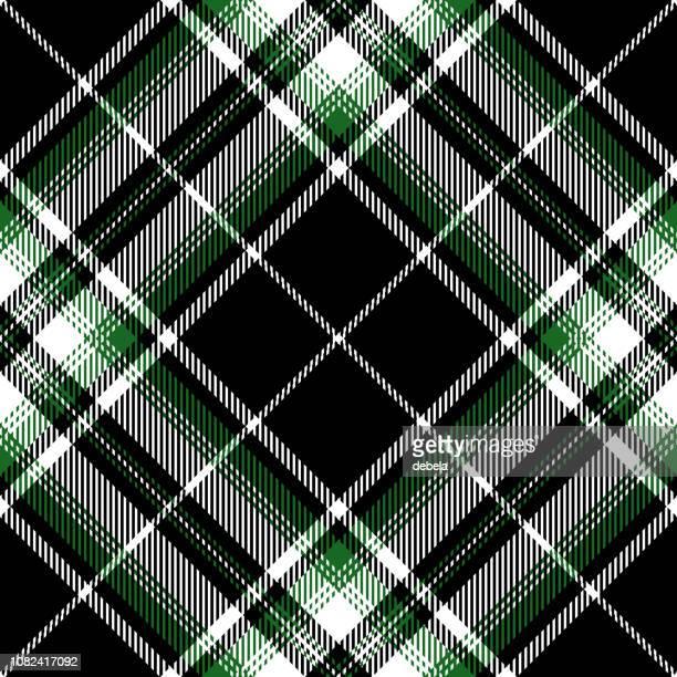 Patrón de textil tela escocesa de tartán escocés negro y verde