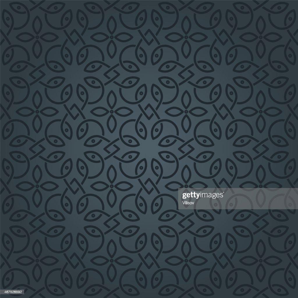 A black and grey Arabic pattern