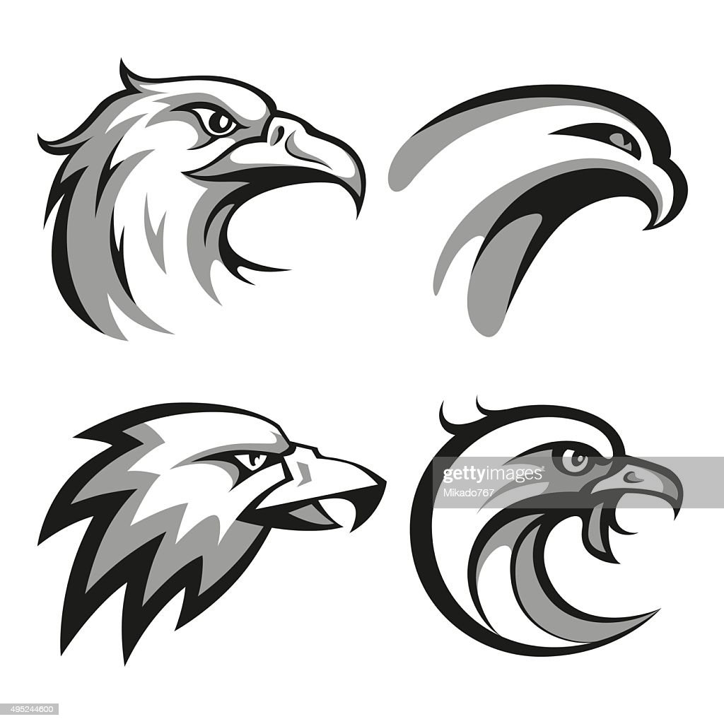 Black and grey eagle head logos set for business or