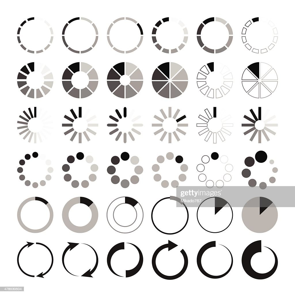 Black and grey loading icons on white background
