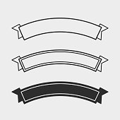 Black and Outline Flat Ribbons. Set of three minimalistic Flat black and white Vector Ribbons.
