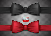Black and red bow tie, realistic vector illustration, isolated on transparent background. Elegant silk neck bow. Vip event accessory