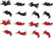 Black And Red Crows Game Sprites.