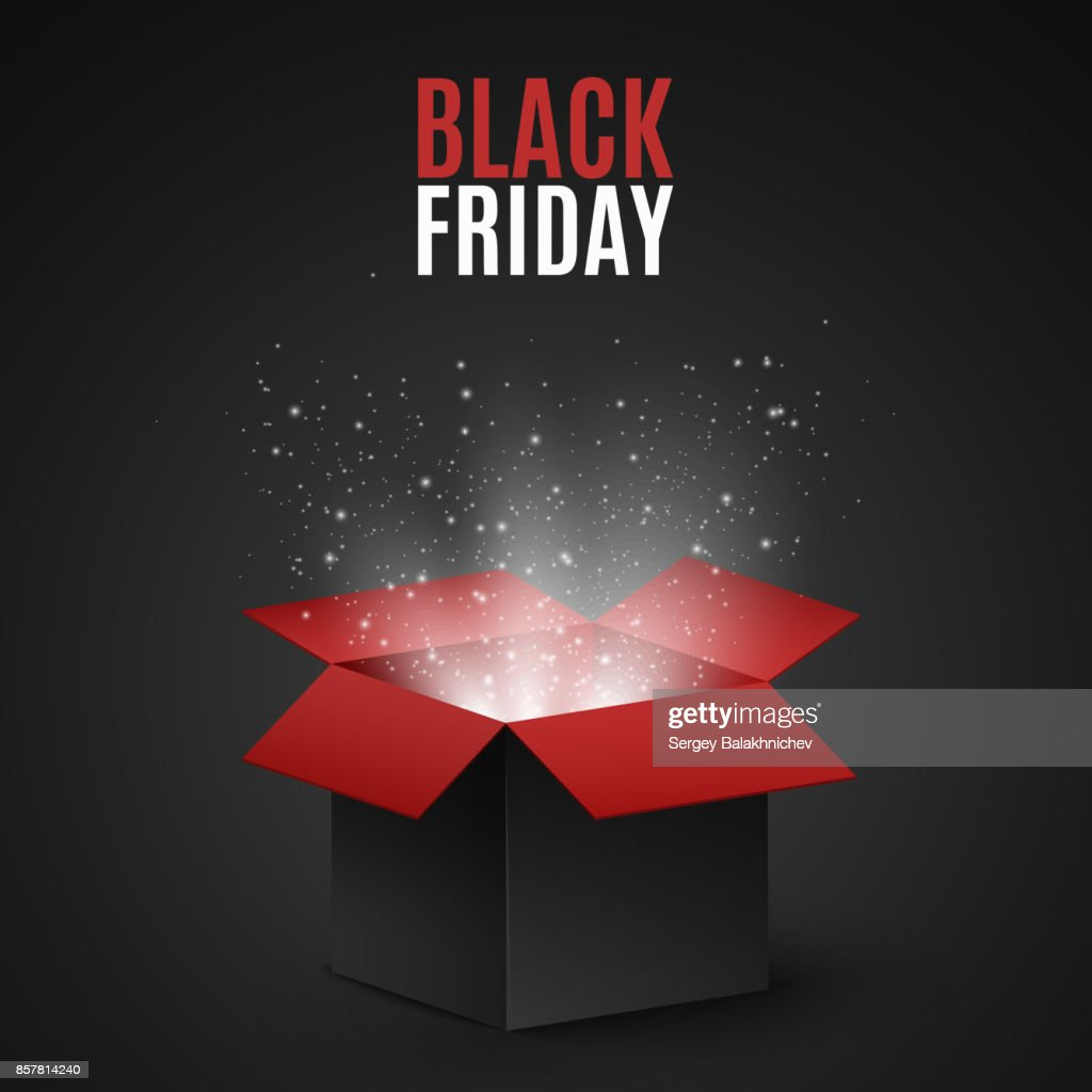 Black and red magic box for sale on a black Friday. Flying light particles and dust on a dark background. Special offer. Super sale. Vector illustration