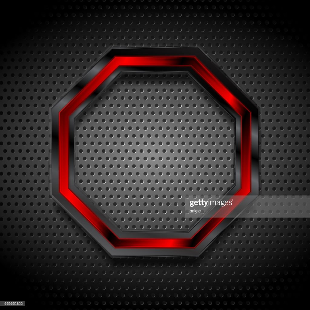 Black and red octagon on perforated metallic texture