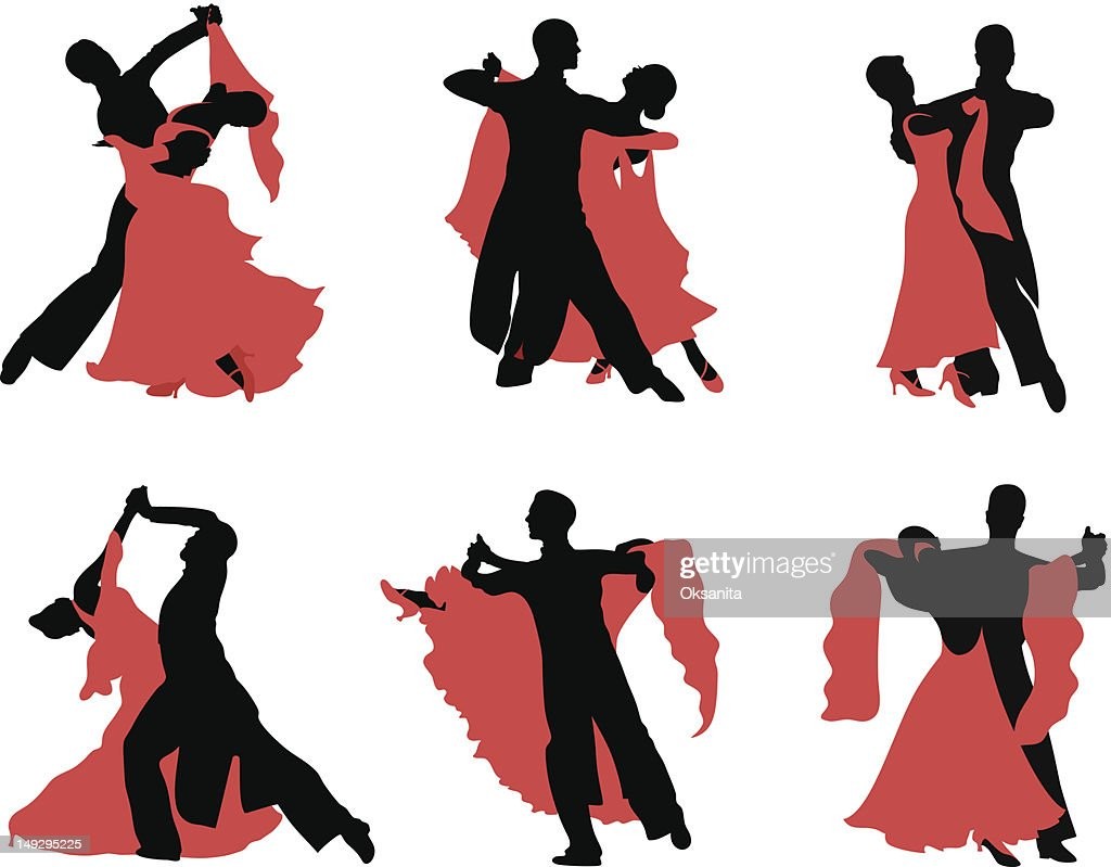Black and red silhouettes of ballroom dancers