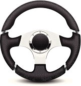 A black and silver steering wheel