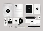 black and square corporate identity template for your business