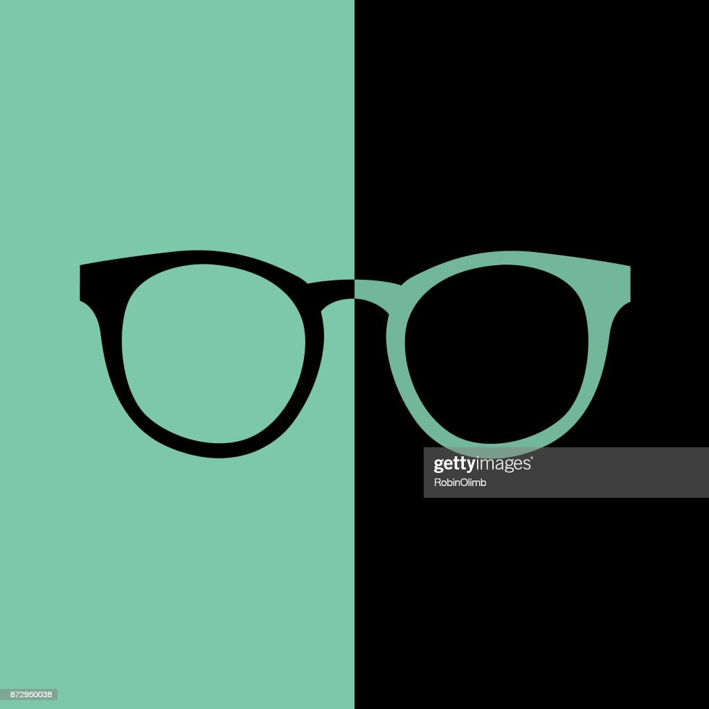 Black And Teal Hipster Eyeglasses Icon : stock illustration