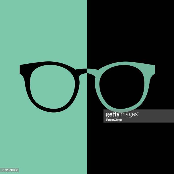 black and teal hipster eyeglasses icon - ophthalmology stock illustrations, clip art, cartoons, & icons
