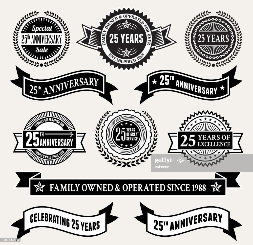 Black and White 25th Anniversary Badge Collection