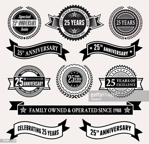 Blanco y negro 25º aniversario de tarjeta