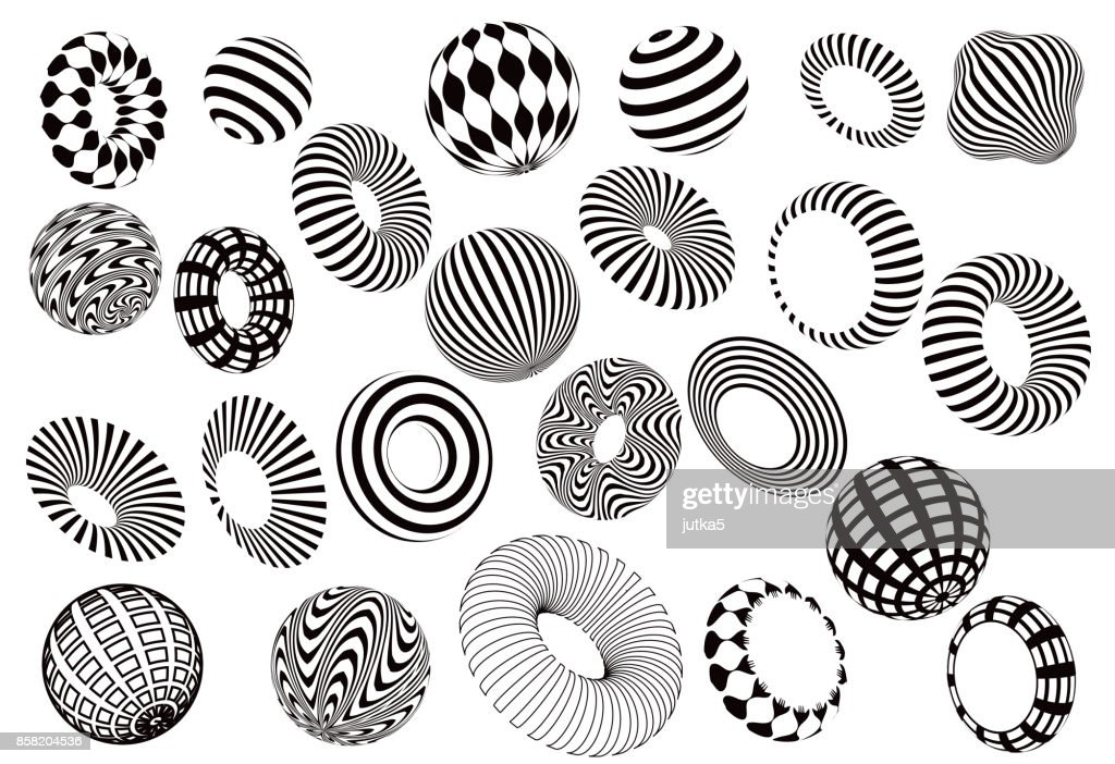 black and white 3d shapes vector set