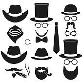 Black and white 6 silhouette man avatars set