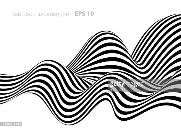 black and white abstract background with stripes - curve stock illustrations