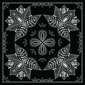 Black and white abstract bandana print with  element henna style