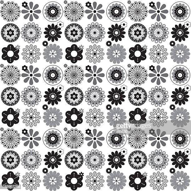 Black and White Abstract Floral Seamless Repeat Pattern