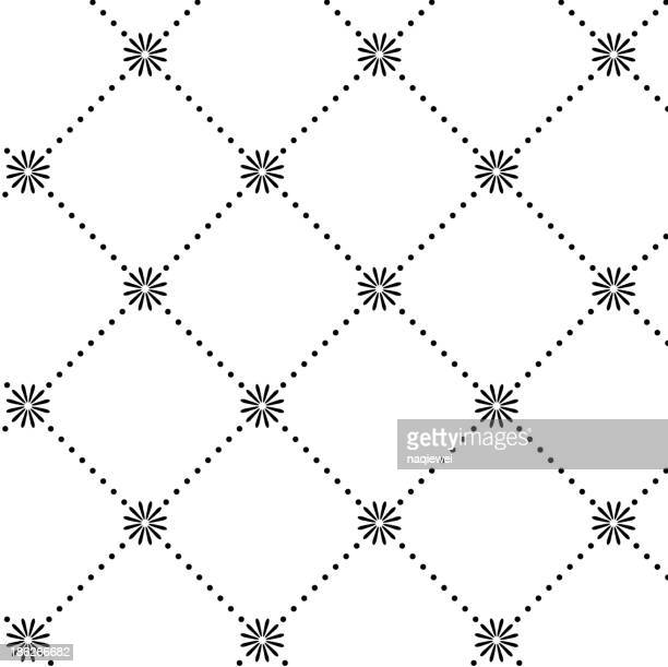 black and white abstract pattern background - single flower stock illustrations