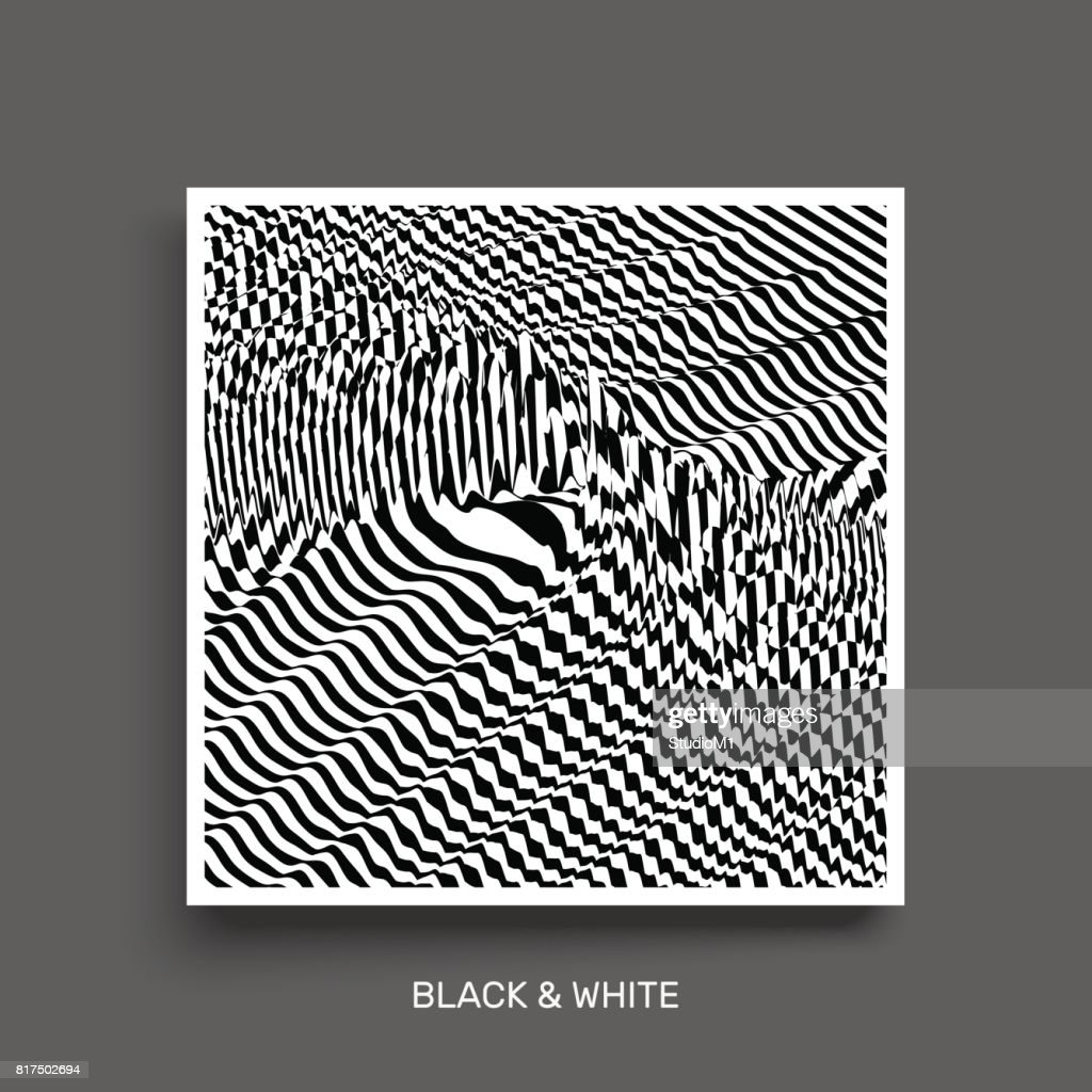 Black and white abstract striped background. Optical art. Cover design template. 3D Vector illustration.