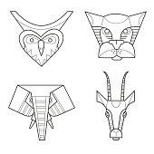 Black and white african masks animals. Owl, leopard, elephant, gazelle.