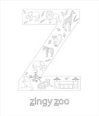 Black and white alphabet letter Z. Phonics flashcard. Cute letter Z for teaching reading with cartoon style zoo, tiger, giraffe, lion, monkey, zebra, elephant, kangaroo. Coloring page for children.